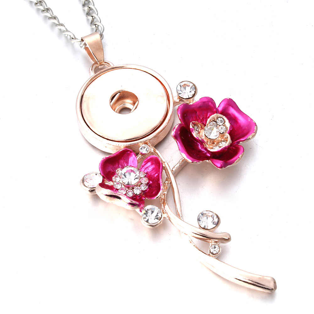 New 18mm Snap Jewelry Rhinestone Rose Gold Flower Necklace Snap Button Necklace for Women Fit 18mm 20mm Snap Buttons Jewelry