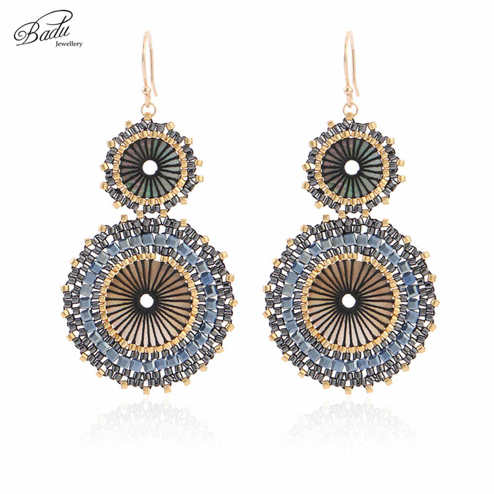 Badu Women Vintage Earring Double Round Japanese Seed Beads Crochet Dangle Earrings Christmas Jewelry Gift Wholesale