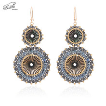 цена на Badu Women Vintage Earring Double Round Japanese Seed Beads Crochet Dangle Earrings Christmas Jewelry Gift Wholesale