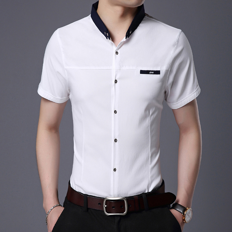 2019 Fashion Brand Designer Shirt Mens Solid Color Workout Summer Slim Fit Street Wear Short Sleeve Button Up Casual Clothes