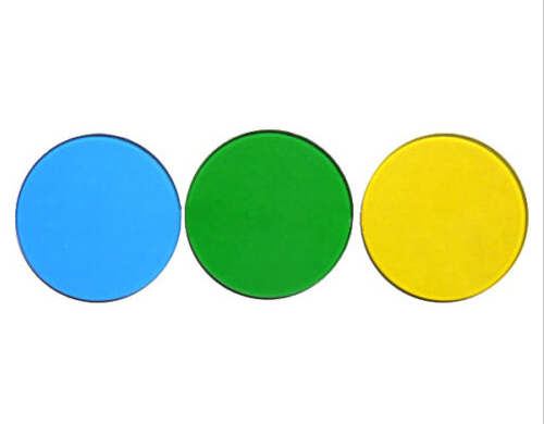 LXFT-BGY32 32 mm mėlynos žalios ir geltonos spalvos filtrai mikroskopams