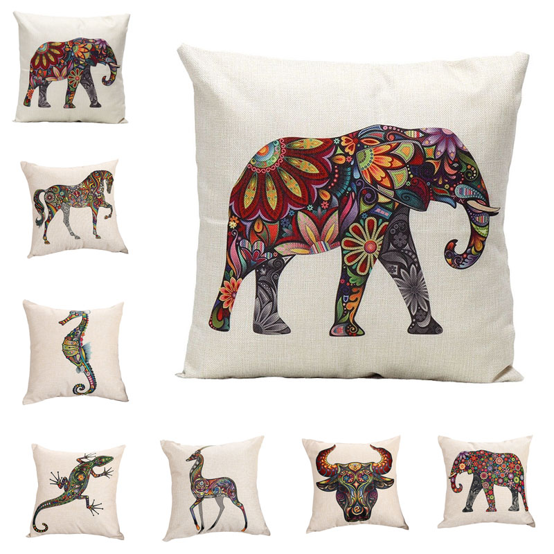 Bohemian Style Animal Pattern Pillow Case Chair Seat and Waist Square 45x45cm Cotton Linen Pillow Cover Home Living