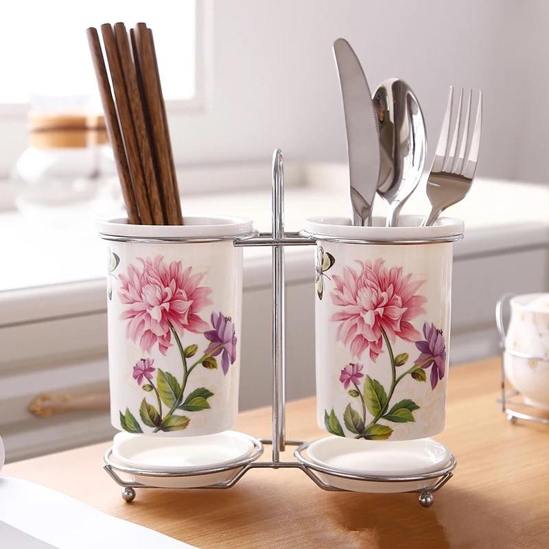 Ceramic Chopsticks Storage Rack Chopsticks Barrel Tableware Draining Rack Organizer Storage Box Kitchen Accessories