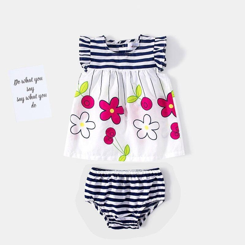 Baby Dresses+Underwear Summer Kids Baby Girls Dress Stripe Baby Girl Clothes baby girl infant dresses