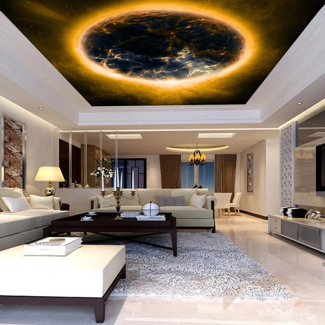 Benutzerdefinierte 3d Wandbild 3D Planeten Tapete Thema Hotel KTV Schlafzimmer Wohnzimmer Esszimmer Dekoration Nacht Globus