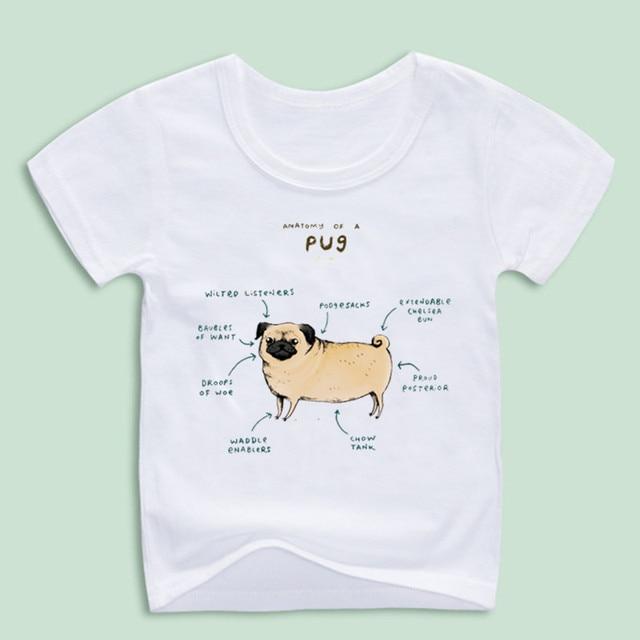 Neue Ankunft, Lustige Anatomie eines Mops T shirts Für Kind, Kinder ...