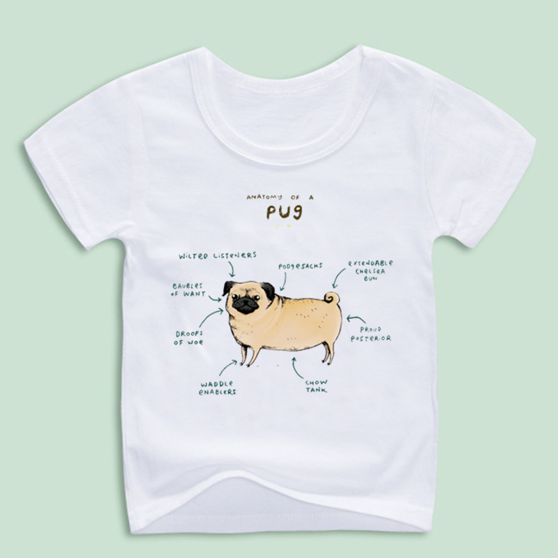 New Arrival,Funny Anatomy of a Pug T shirts For Kid,Children ...