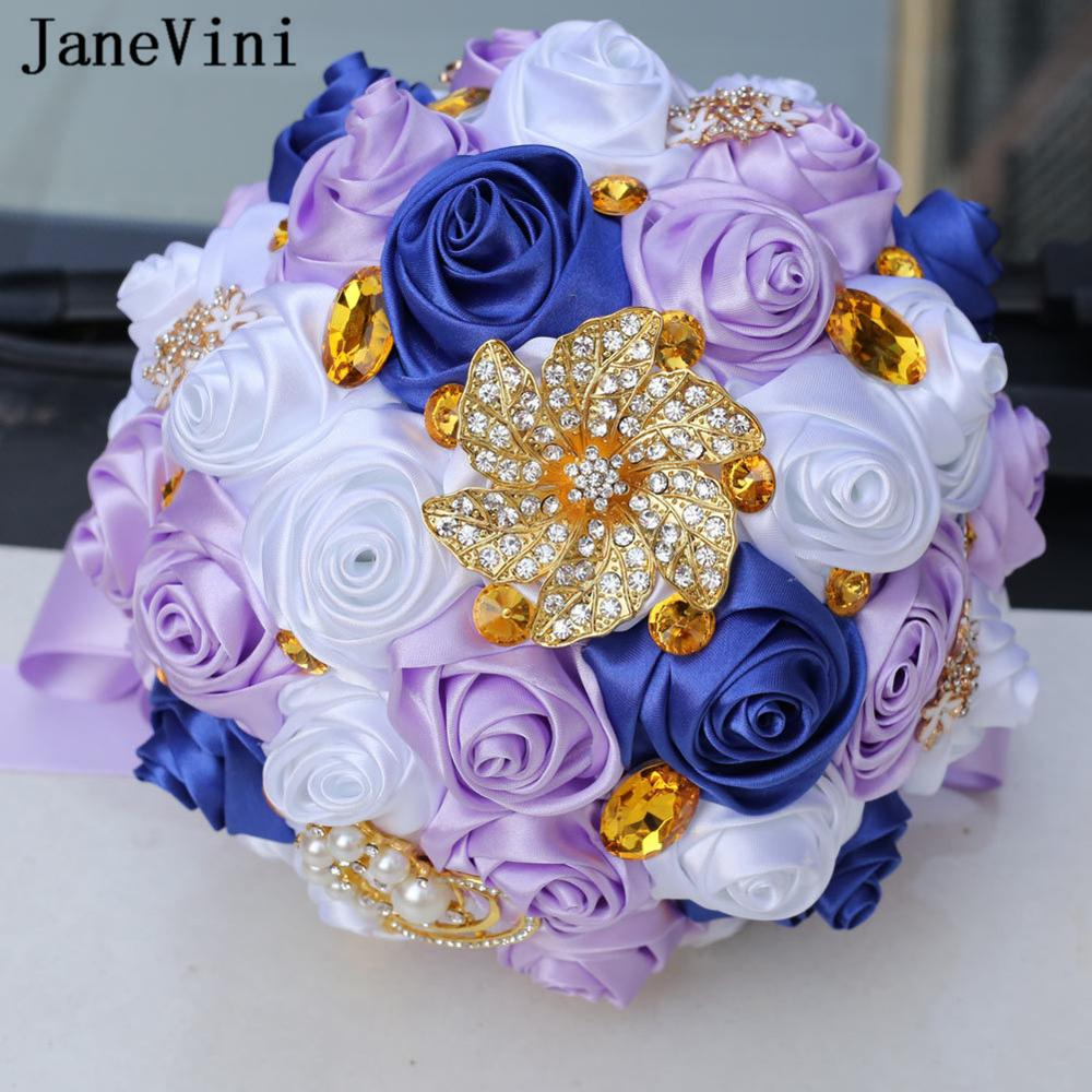 JaneVini 2019 Luxury Sparkle Crystal Wedding Bouquets Bridal Flowers Rhinestone Artificial Purple Satin Roses Bouquet De Mariage
