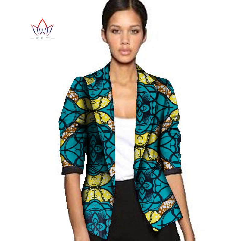 BRW Dashiki African Wax Jacket Print Clothes for Women Suit Full Sleeve Notched Plus Size 6xl African Cotton Jacket Coat WY056