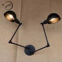 classical design luxury antique black retro double head swing arm sconce wall lamp for workroom cafe bedside bedroom wall Lights
