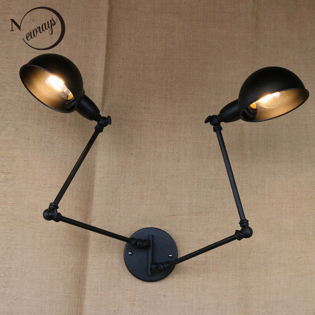 Clical Design Luxury Antique Black Retro Double Head Swing Arm Sconce Wall Lamp For Workroom Cafe Bedside Bedroom Lights