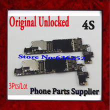 3Pcs/Lot 1000% Original Unlocked 16GB Mainboard For iphone 4s Motherboard with Chips,Good Working Free Shipping
