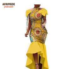 2018 spring african dress for women AFRIPRIDE sleeveless floor-length women trumpet party dress with bows on shoulder A1825004