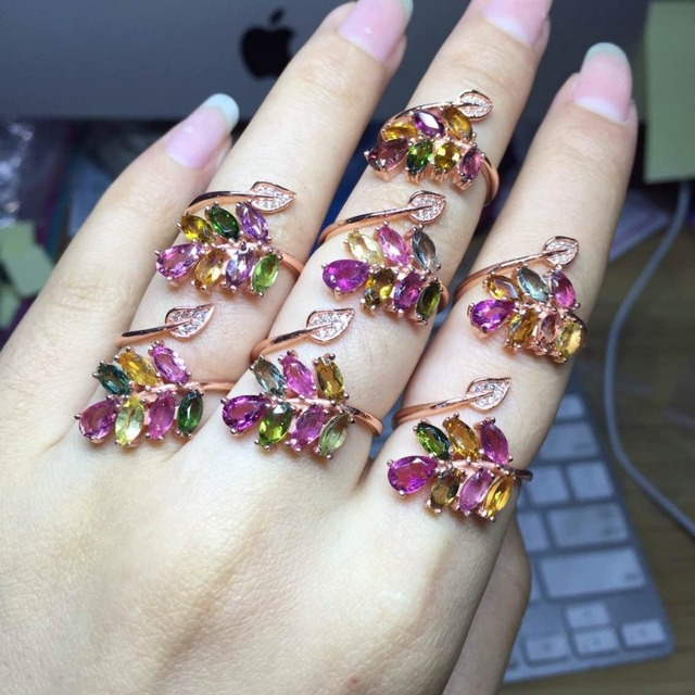 [MeiBaPJธรรมชาติทัวร์มาลีนอัญมณีแฟชั่นที่มีสีสันหินแหวนสำหรับสตรีจริง 925 เงินสเตอร์ลิงCharmเครื่องประดับFine