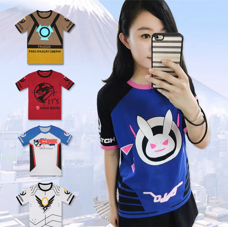 OW D.VA Rabbit Cosplay Dva Unisex Short Sleeve shirt mccree T-shirts Summer soldier 76 Tops Tee Shirt Angela Ziegler Costume tee