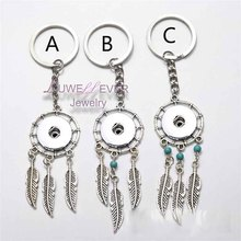 Top wholesale natural opal stone dreamcatcher keyring fashion silver boho jewelry feather 18mm snap button keychain for women