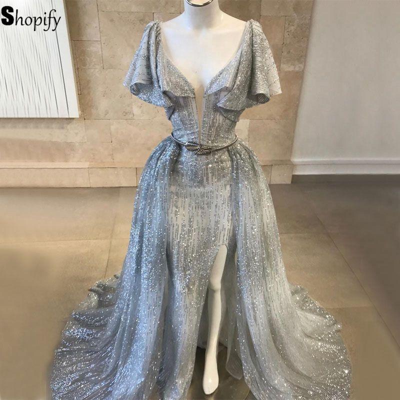 Long Glitter Saudi Arabia Women   Evening     Dress   2019 Mermaid Cap Sleeve Sparkly Silver Formal   Evening   Gowns Detachable Train