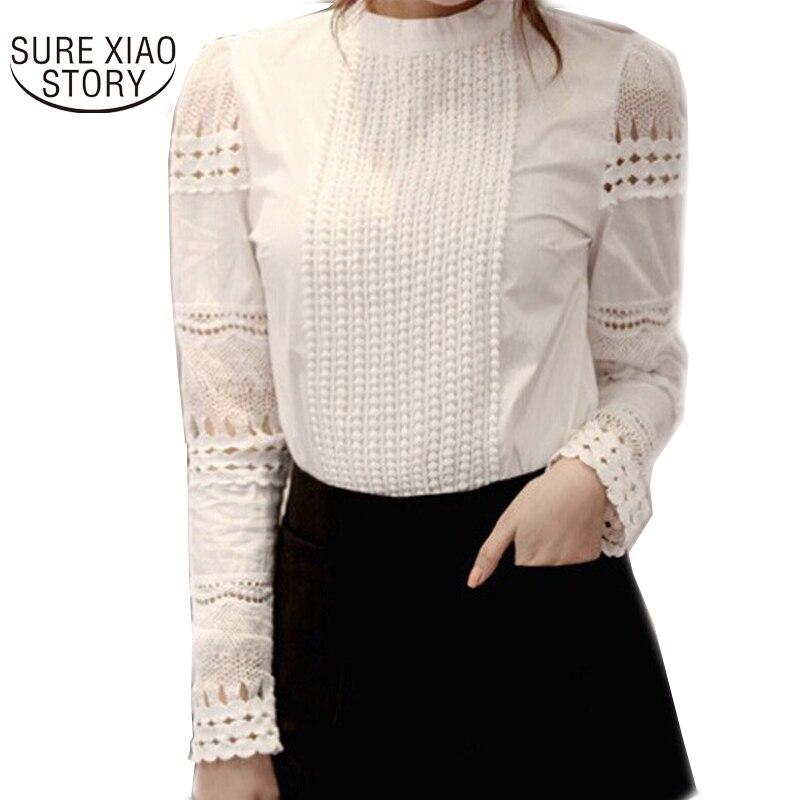 2015 Nouvelles femmes de haute qualité blusas femininas blouses femmes de chemise élégante évider dentelle Slim chemisier en mousseline femmes tops 8H98