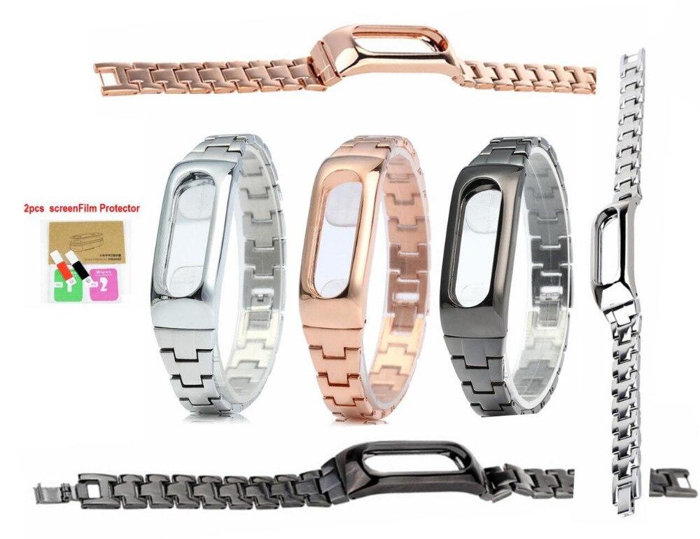 Xiao mi mi Band 2 Armband Edelstahl Für mi Band 2 Armbänder Ersetzen Für mi Band 2 Metall Strap mit screen Protector filme