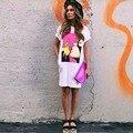 Жаркое лето 2017 Европейские и Американские торговые мода свободные печати dress сторона сплит