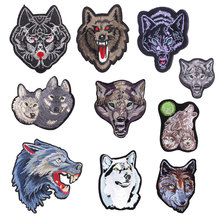 Wolf Head Iron on Patches for Clothing DIY Embroidery Stripe Clothes Animal Sequin Applique Badge Cloth Fabric Craft