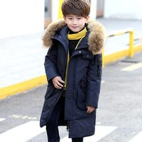 2018 Winter Boys Down Jackets Parkas for Girls Hooded Real Fur Coats Teenager Jacket 90% Duck Down Snowsuit Kids Clothing