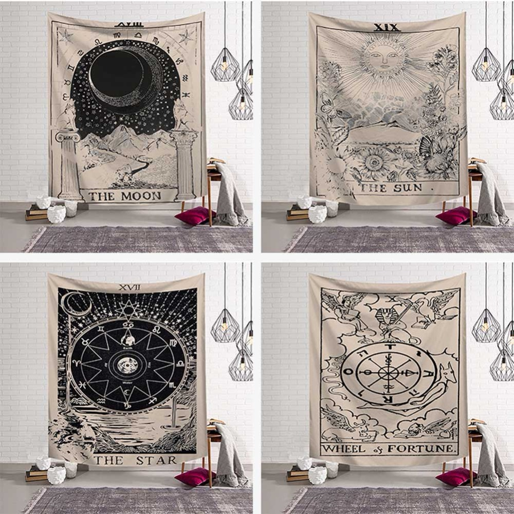 Mandala Tapestry Wall Hanging Witchcraft Hippie Beach Throw Rug Carpet <font><b>Sun</b></font> Moon Tapestries Bohemian Home Art Psychedelic Decor image