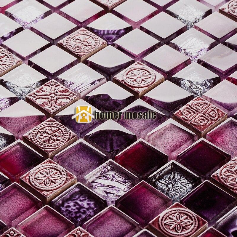 unique mixed purple glossy crystal glass for bathroom shower tiles kitchen backsplash tiles HMB1428