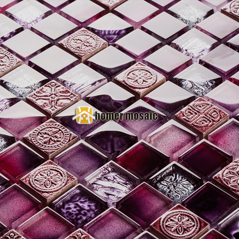 patterned kitchen tiles unique mixed purple glossy glass for bathroom 1428