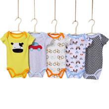 5 Pcs/set Infant Boys Girls Summer Casual Cute Cartoon Printing Short Sleeve Romper Random Color