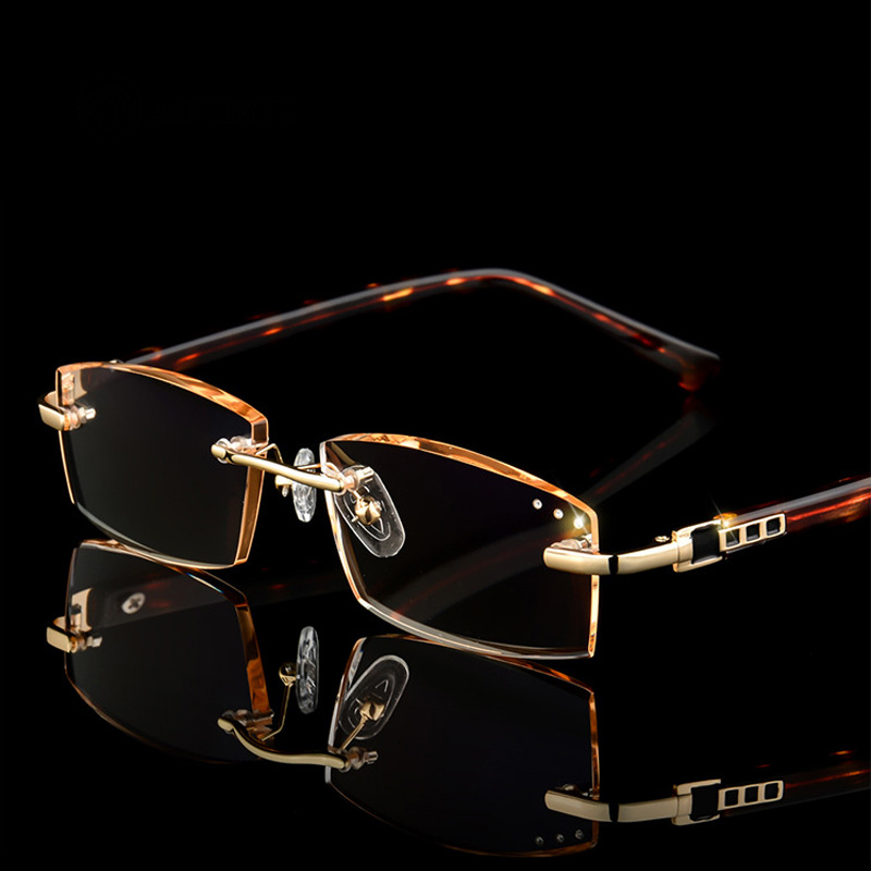 AOUBOU Anti-Blu-ray diamond mosaic  Trimming Reading glasses High-end No frame High quality metal HD lenses AB881