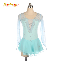 Nasinaya Figure Skating Dress Ice Skating Skirt for Girl Women Kids Customized Competition Performance Light Blue Mesh Shiny