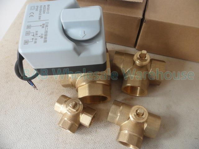 Robinet à bille motorisé en laiton, 3 fils, moteur à bille/actionneur électrique avec interrupteur manuel, AC220V DN15(G1/2 pouces) à DN32(G1 1/4 pouces)