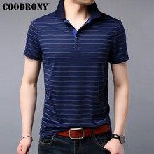 COODRONY T Gömlek Erkekler 2019 Yaz Yumuşak Serin kısa kollu tişört Erkekler Streetwear Rahat Moda Çizgili Üst Tee Gömlek Homme S95075