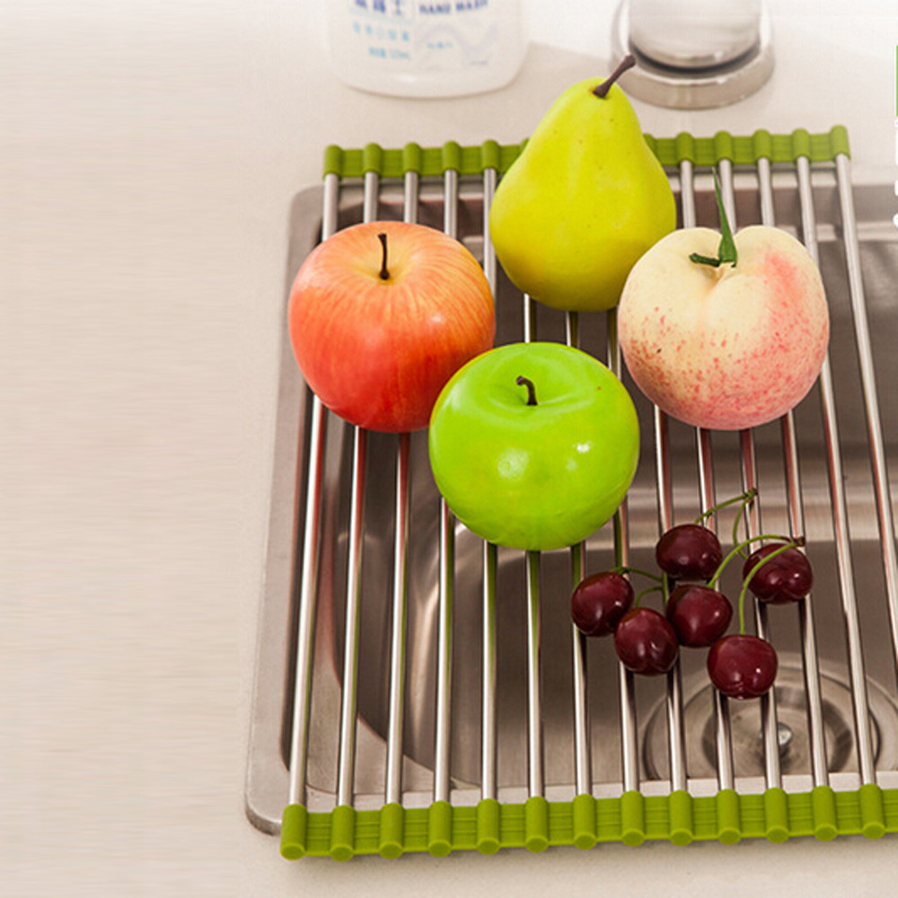 New 1 Pcs Green Hot Pink Sink Storage Dish Drying Rack Holder Fruit Vegetable Drainer Colanders