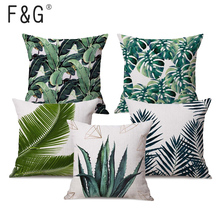 45X45CM Linen Tropical Plant leaf Throw Pillow Case Sofa Car Cushion Cover Household Bedroom Decorative Home Love Letter