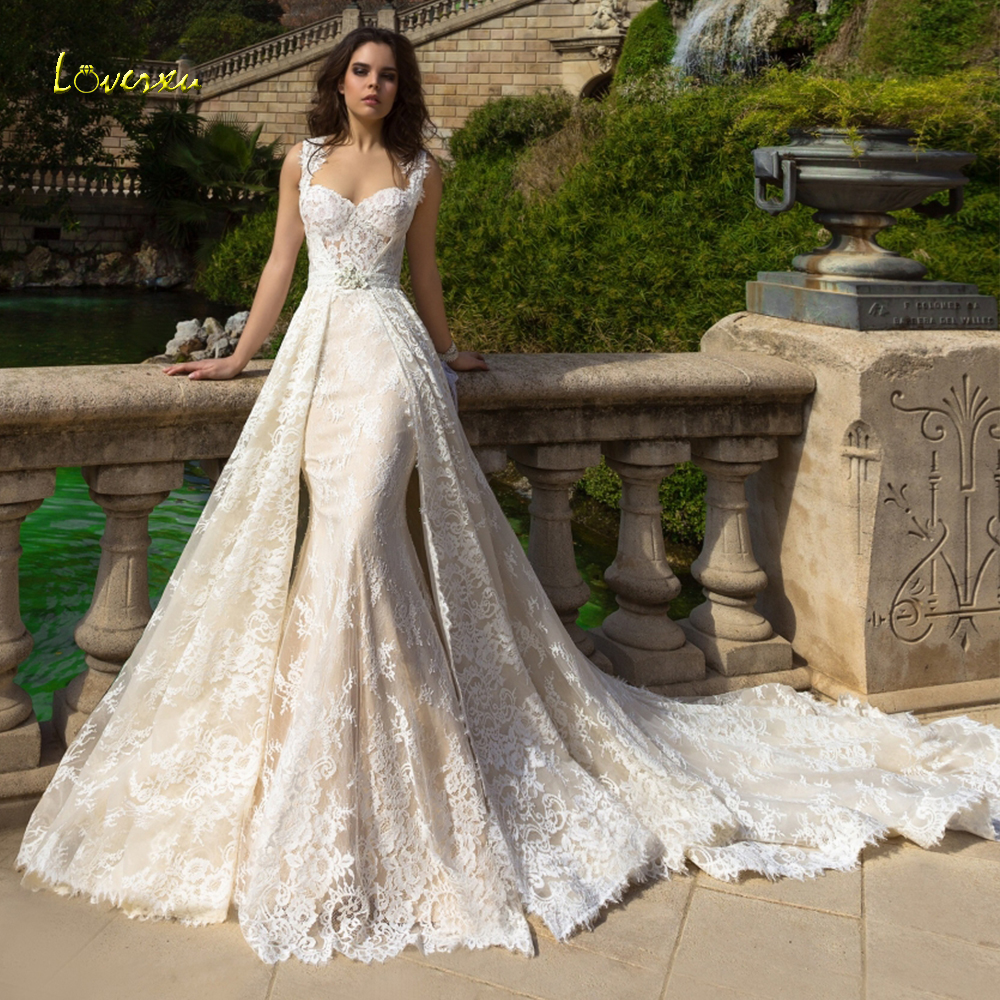 Loverxu Scoop Mermaid Wedding Dress Delicate Chic Applique Tank Sleeve Bride Dress Chapel Detachable Train Bridal Gown Plus Size