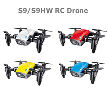 S9HW Mini Drone With Camera S9 No Camera RC Helicopter Foldable Drones Altitude Hold RC Quadcopter WiFi FPV Pocket Dron VS CX10W(China)
