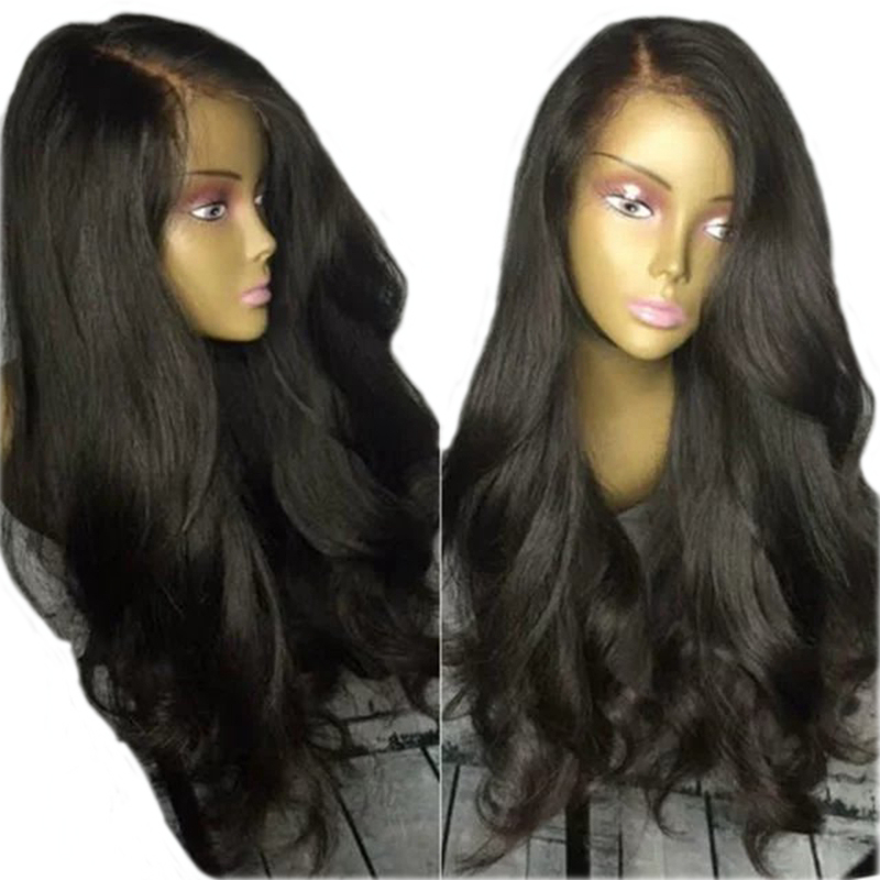 DLME 180% Density Body Wave Glueless Synthetic Lace Front Wig With Baby Hair Long Black Wig Heat Resistant Wigs For Black Women ...