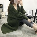 Women Sweater Long Cardigan 2016 Fashion Autumn Winter Style Long Sleeve Loose Thick Knitted Cardigan female Sweaters Long Coat