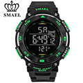 SMAEL Men Outdoor Movement 50M Waterproof Watches PU Strap Men's Wristwatch Fashion Large Dial LED Digital Electronic Watch