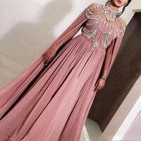 Арабский шифон Длинные вечерние платья вечерние элегантные для Для женщин знаменитости Дубайский кафтан замок молния со стразами Высокая