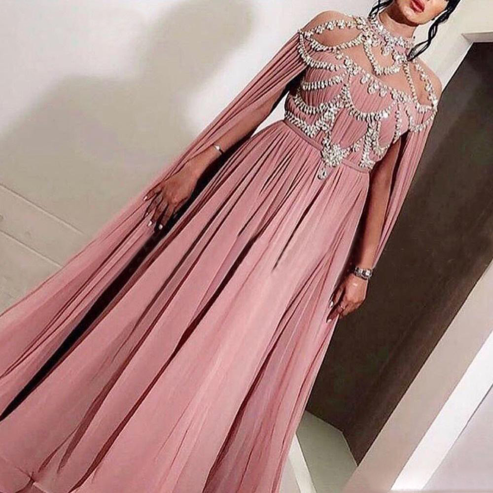Arabic Chiffon Long Evening Dresses Party Elegant for Women Celebrity Dubai Caftan Crystal Zipper High Neck Prom Formal Gowns