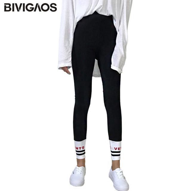 BIVIGAOS Automne Femmes Leggings Hit Coréen Couleur Stripes Fil Lettres  Couture Noir Leggings Coton Entraînement Legging 5fa63806a48