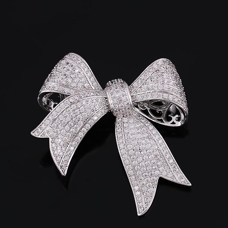 Κορυφαία ποιότητα Cubic Zirconia Bow Tie χαλκού καρφίτσα για τις γυναίκες σε ασημί χρώμα ή χρυσό χρώμα