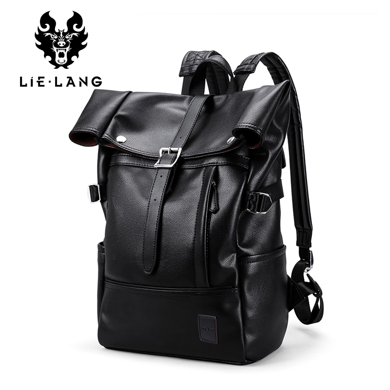 LIELANG Backpack 15inch Laptop Men College School Waterproof Leather Backpacks Mochila Leisure Travel Capacity Bag Male Rucksack augur 2018 brand men backpack waterproof 15inch laptop back teenage college dayback larger capacity travel bag pack for male