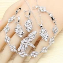 купить 925 Silver Jewelry Sets For Women  White Semi-precious Earrings Bracelet Rings Necklace Pendant Bridal Wedding Jewelry по цене 791.32 рублей