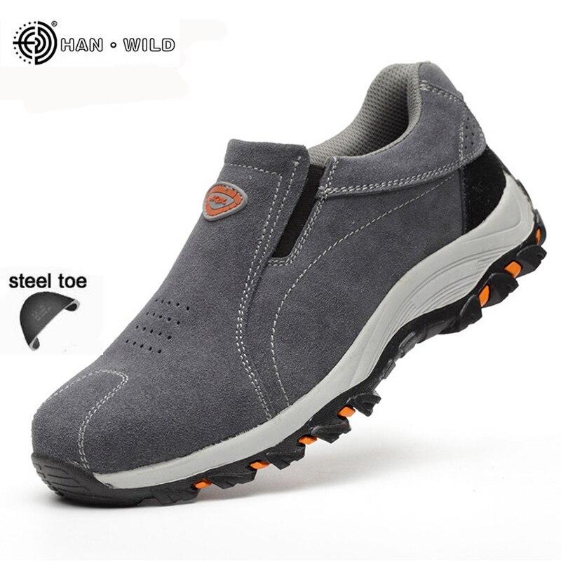 Zapatos de trabajo de seguridad para hombre, zapatos transpirables de moda, botas informales, zapatos de punta de acero a prueba de perforaciones para hombre