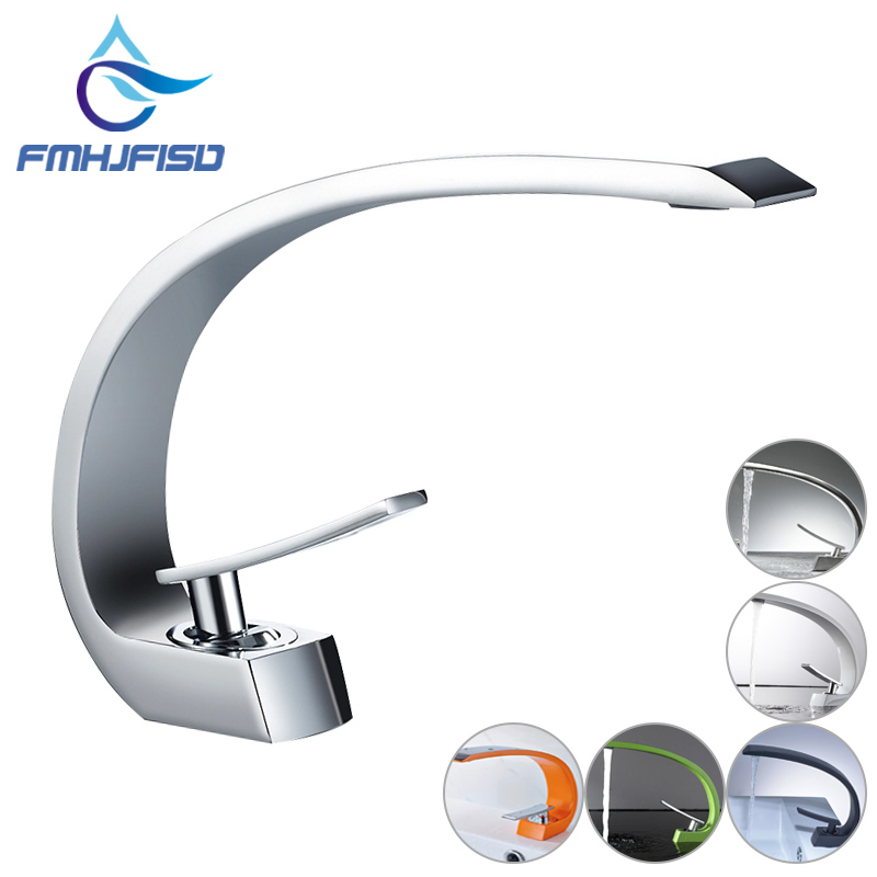 Wholesale And Retail Luxury Elegant C Curved Bathroom Basin Faucet Single Handle Hole Vanity Sink Mixer Tap Hot And Cold Mixer free shipping golden white basin mixer faucet single handle bathroom pull out vanity sink faucet hot and cold tap