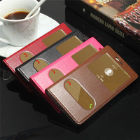 CYBORIS Cases For Huawei P9 Lite Double View Window Flip Cover Luxury Genuine Leather Capa For